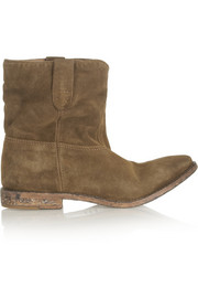Crisi suede concealed wedge biker boots