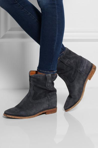 isabel marant crisi suede concealed wedge biker boots net a porter com. Black Bedroom Furniture Sets. Home Design Ideas
