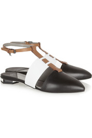 Karl Lagerfeld Tri-tone leather point-toe flats
