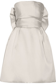 Bow-embellished duchesse-satin dress