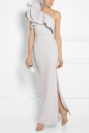 Ruffled one-shoulder crepe gown