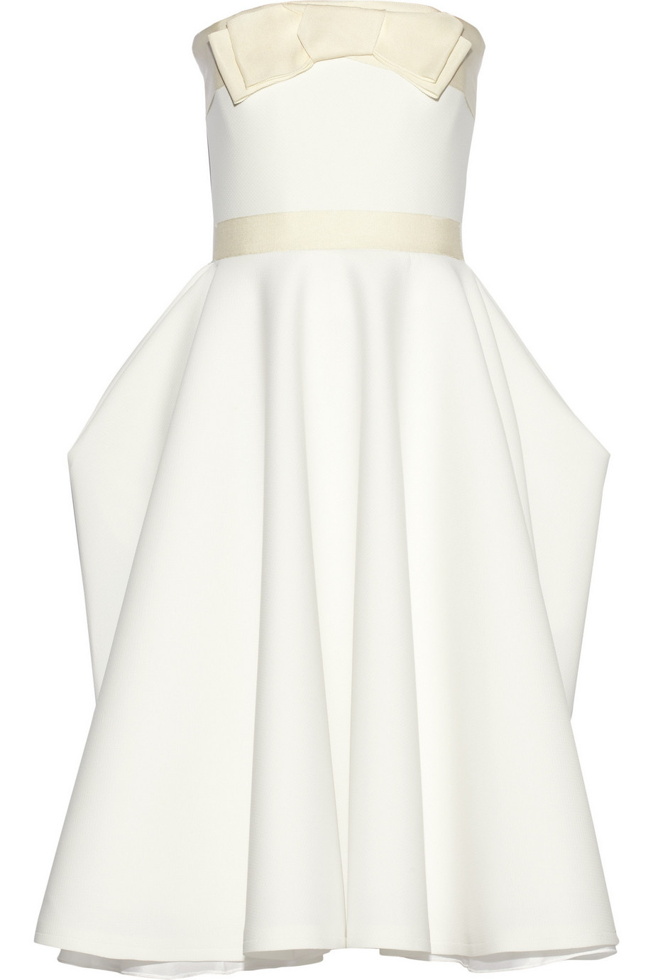 Lanvin Grosgrain-Trimmed Piqué Dress, White, Women's, Size: 38