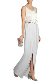 Satin-trimmed crepe maxi skirt