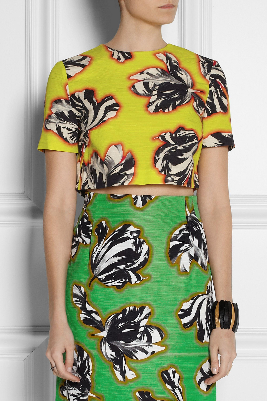 Jonathan Saunders Bibbi cropped tulip-print slub cotton-blend top