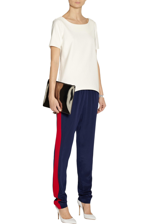Prabal Gurung Two-tone silk track pants