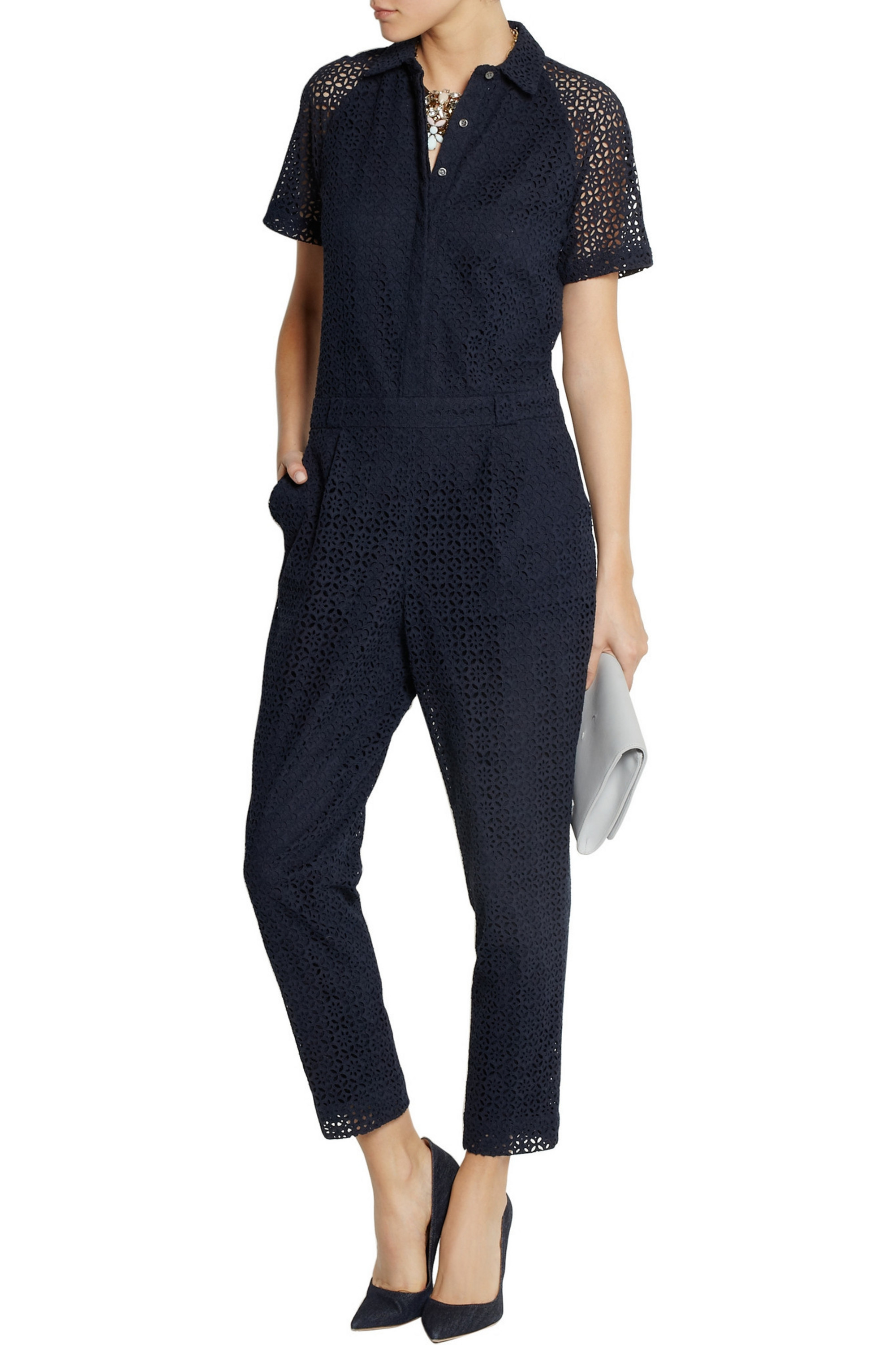 J.Crew Honeysuckle broderie anglaise cotton jumpsuit