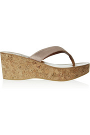 K Jacques St Tropez Metallic leather wedge sandals