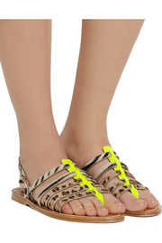 Calf hair and neon patent-leather sandals