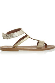 Metallic lizard-effect and leather sandals