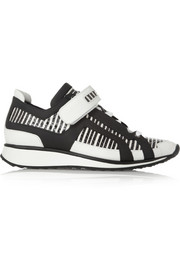 Striped elaphe and leather sneakers