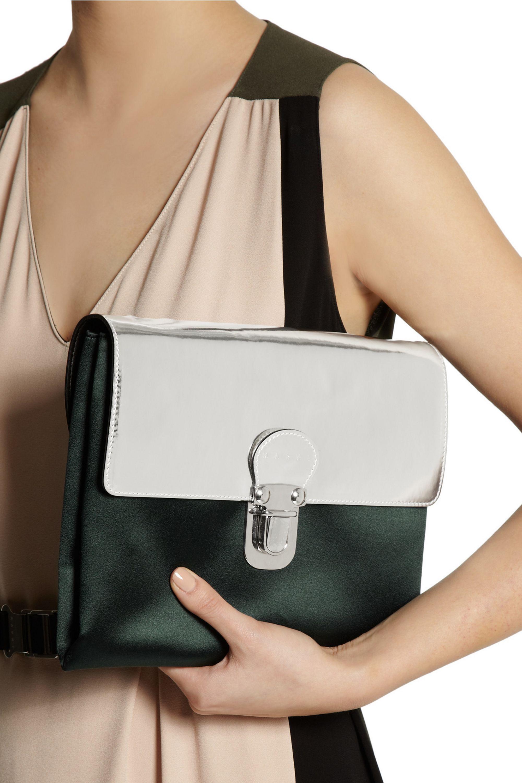 Marni Metallic patent-leather and satin shoulder bag