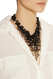 RosanticaZampillo gold-dipped, onyx and quartz necklace