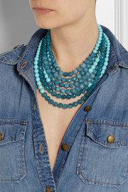 RosanticaAmanda gold-dipped turquoise and angelite necklace
