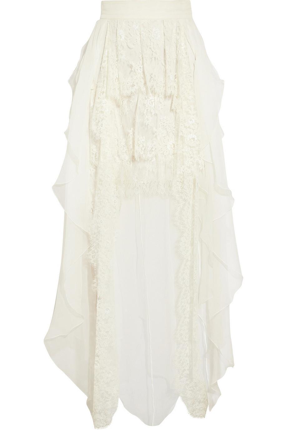 Pandasia Ruffled Silk-Chiffon Skirt, Sophia Kokosalaki, Ivory, Women's, Size: 42