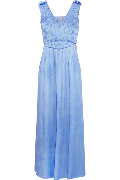Sophia Kokosalaki - Dysis Plissé-satin Maxi Dress - Blue