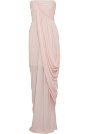 Draped wrap-effect crepe-jersey gown