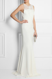 Mirah lace and stretch-crepe fishtail gown
