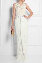 Hexam embroidered lace and stretch-crepe gown