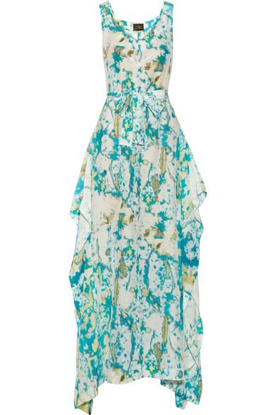 Vivienne Westwood Anglomania. Zeta asymmetric printed crepe de chine maxi  dress 9ccf40497