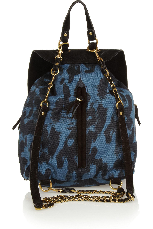 Jérôme Dreyfuss Florent suede-trimmed leopard-print canvas backpack