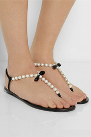 René Caovilla Pearl-embellished leather sandals