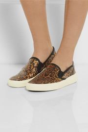 Saint Laurent Leopard-print glossed-leather slip-on sneakers