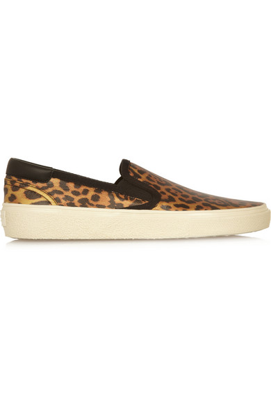 Shopping Now Saint Laurent Leopard Print Leopard print Glossed leather Slip on Sneakers