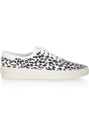 Leopard-print canvas sneakers