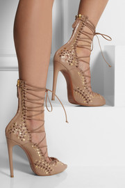 Alaïa Studded lace-up leather sandals