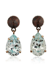 Cone pendant earrings in mineral stone and crystal