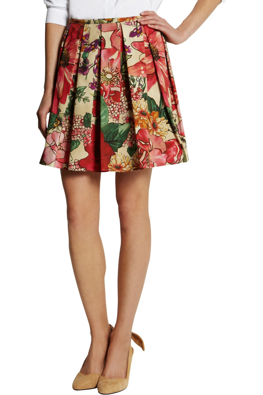 RED Valentino Pleated Floral-Print Cotton Skirt