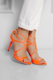 Jimmy ChooLang neon patent-leather sandals