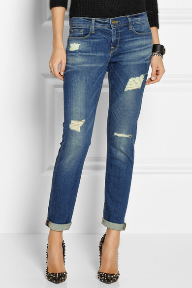 frame le garcon distressed slim boyfriend jeans net a. Black Bedroom Furniture Sets. Home Design Ideas