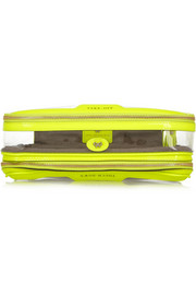 Anya Hindmarch In Flight neon patent leather-trimmed travel case