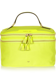 Vanity Kit neon patent leather-trimmed cosmetics case