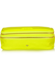Anya Hindmarch Make Up neon patent leather-trimmed cosmetics case