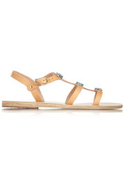 Ancient Greek Sandals Eyes ceramic-embellished leather sandals