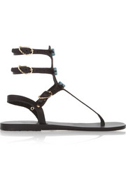 Ancient Greek Sandals Eyes High ceramic-detailed leather sandals