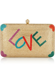 Love Swarovski crystal-embellished box clutch