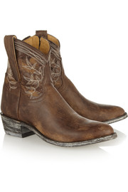 Mexicana Polo embroidered distressed leather ankle boots
