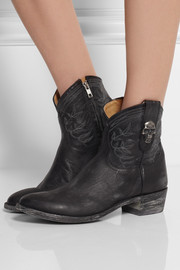 Mexicana Tete De Mort distressed leather ankle boots