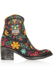 Mexicana Klak embroidered distressed leather ankle boots