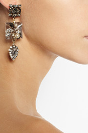 Erickson BeamonGold-plated Swarovski crystal and pearl earrings