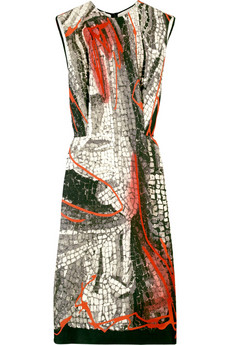 Miu Miu Silk mosaic-print dress