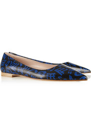 Miu Miu Printed leather point-toe flats
