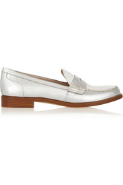 Two-tone metallic leather penny loafers