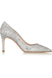 Glitter-finished leather pumps