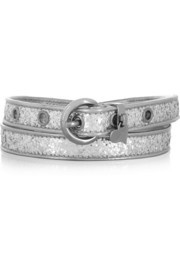 Miu Miu Glitter-finished faux leather waist belt
