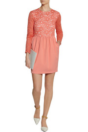 MSGMLace and stretch-crepe mini dress