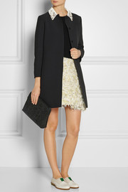 Miu Miu Embellished-collar crepe coat
